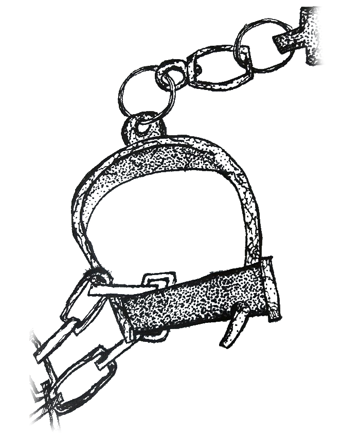 Ink drawing of 19th century handcuffs